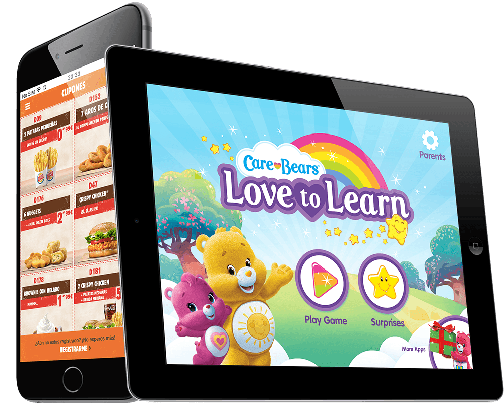 Mobile development from Airtouch IOS Android Apps Phone Tablet Ipad Burger King Carebears American Greetings