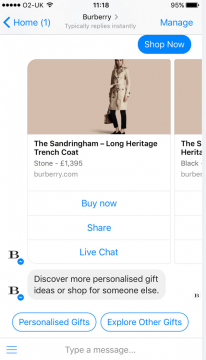 Burberry Chatbot Facebook Messenger Airtouch