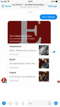 List of news chatbot development for Les Echos Facbook Messenger airtouch