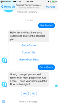 Personal Trainer Insurance Chatbot Facebook Messenger Airtouch