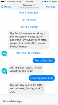 Skyscanner Chatbot Facebook Messenger Airtouch
