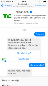 TechCrunch Chatbot Facebook Messenger airtouch