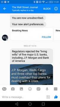 The Wall Street Journal Chatbot Facebook Messenger airtouch