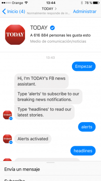 Today Chatbot Facebook Messenger airtouch