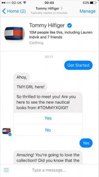 Tommy Hilfiger Chatbot Facebook Messenger airtouch