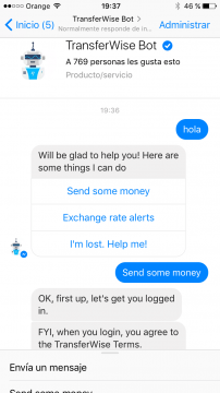 TransferWise Chatbot Facebook Messenger airtouch