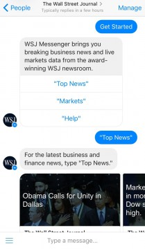 WallStreeJournal Chatbot Facebook Messenger airtouch