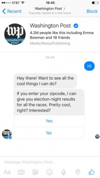 Washington Post Chatbot Facebook Messenger airtouch