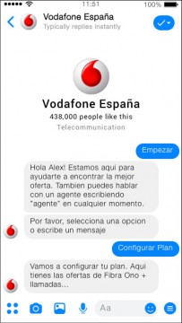 Vodafone Spain Chatbot Development for Facebook Messenger by Airtouch