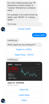 wall street journal messenger chat bot top lookup stocks airtouch