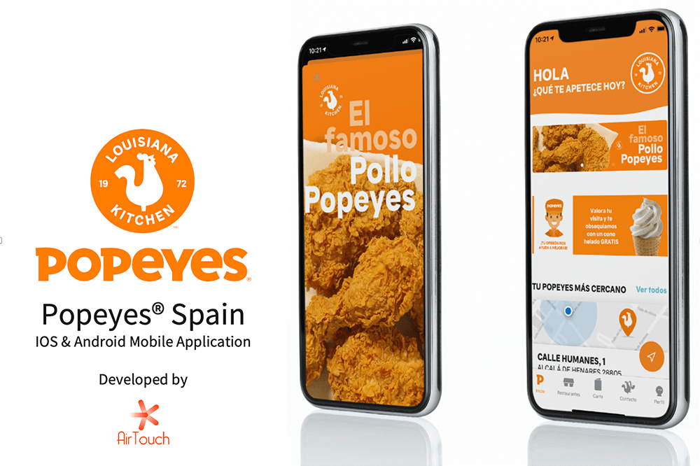 Popeyes® Spain iOS & Android Mobile Applications Developed by Airtouch